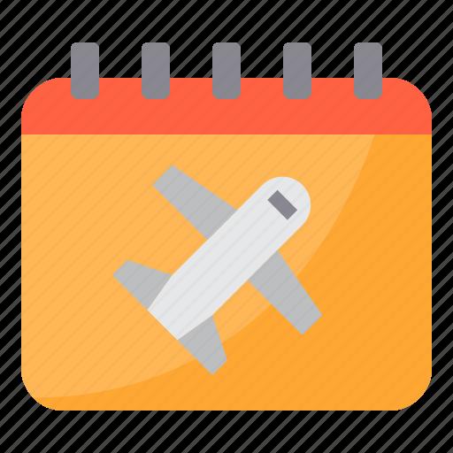 airplane, airport, calendar, plane, transportation, travel icon