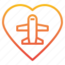 airplane, airport, love, plane, transportation, travel icon