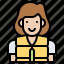 avatar, help, jacket, life, woman icon