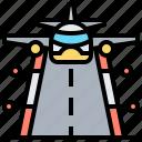 airport, landing, plane, transport, way icon