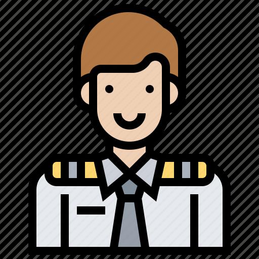 airplane, avatar, service, steward, uniform icon