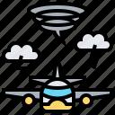 airplane, plane, storm, transport, transportation icon