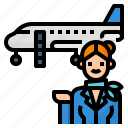 airline, attendant, flight, hostess icon