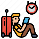 airport, arrival, delayed, flight icon