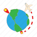 cartoon, destination, globe, pin, plane, transportation, travel icon