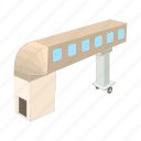 airplane, airport, bridge, cartoon, jet, loading, terminal icon