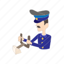 aircraft, airplane, captain, cartoon, pilot, travel, uniform icon