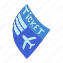 airline, airplane, airport, cartoon, departure, ticket, travel icon