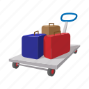 brief, cart, cartoon, journey, suitcase, tourism, travel icon