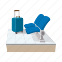 cartoon, chair, indoor, lounge, row, seat, suitcase icon