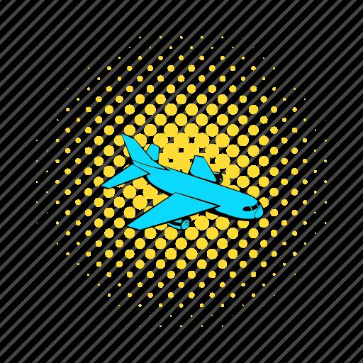 air, aircraft, airplane, comics, flight, plane, transportation icon