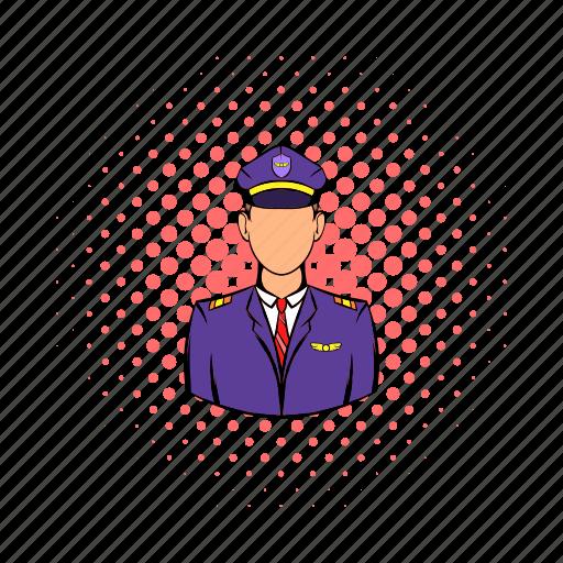 aircraft, airplane, captain, comics, pilot, travel, uniform icon