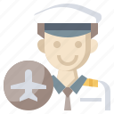 aviator, captain, hat, jobs, professions, transportation, trave icon