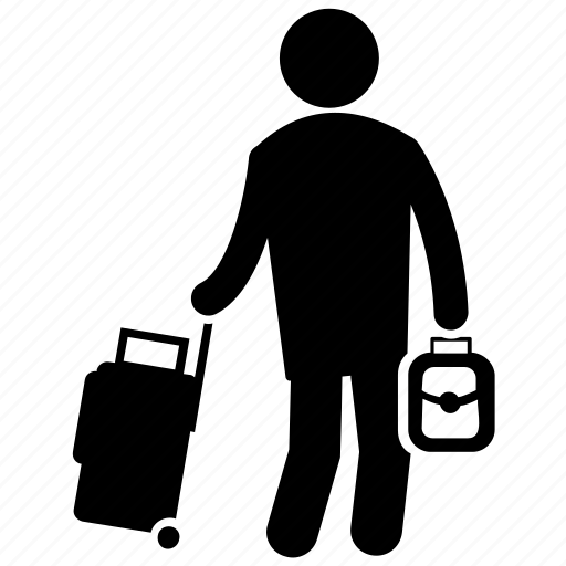 air travel, airport human, human pictogram, tourist, traveller icon