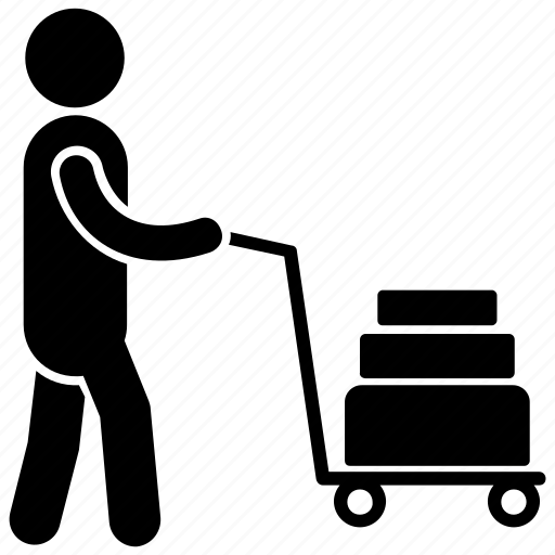 air travel, airport helper, airport porter, human pictogram, luggage carrier icon