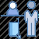 airport reception, airport receptionist, announcement, announcer, hotel reception, reception