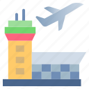 airport, airport building, airport control tower, airport tower, building, flight, tower icon