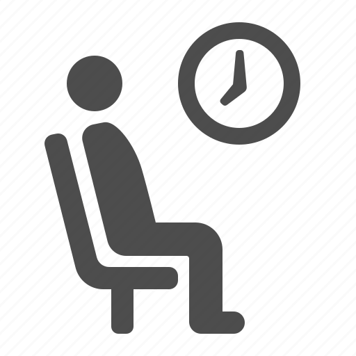 airport, chair, clock, man, sitting, waiting, waiting room icon