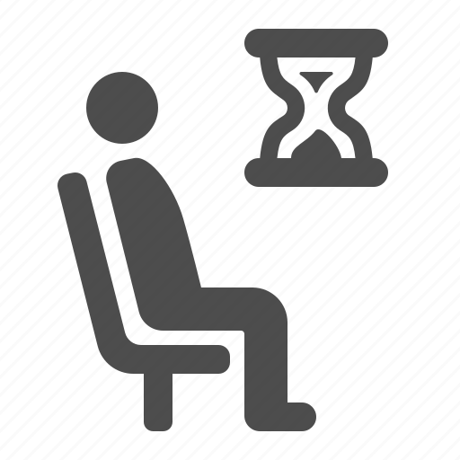 airport, chair, hourglass, man, sitting, waiting, waiting room icon
