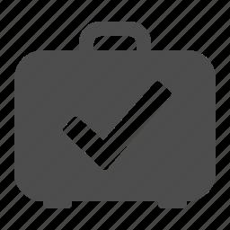baggage, briefcase, check, check mark, luggage, security, suitcase icon