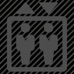 airport, businessmen, elevator, men icon