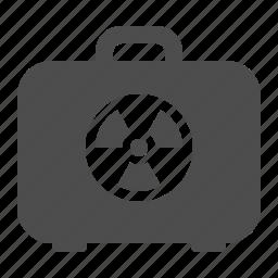biohazard, briefcase, danger, hazard, suitcase, toxic icon