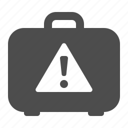 briefcase, danger, exclamation mark, exclamation sign, luggage, suitcase, warning icon