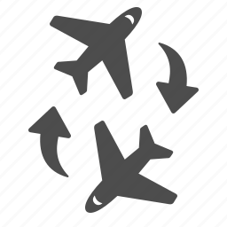 airplane, airport, arrows, connection, flight, flying, plane icon