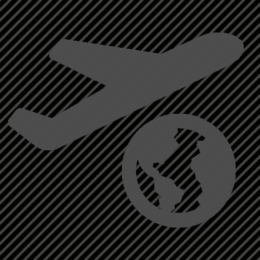 airplane, earth, flight, flying, globe, plane, travel icon