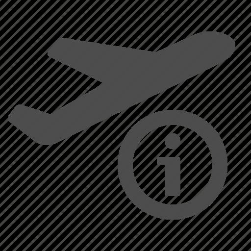 airplane, airport, flight, info, information, plane, travel icon