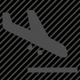 airplane, airport, landing, plane, runway, transportation, travel icon