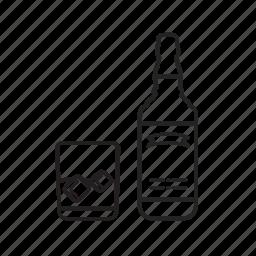 bottle, glass, whiskey icon