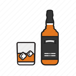 alcohol, bottle, drink, glass, magnifying, whiskey icon