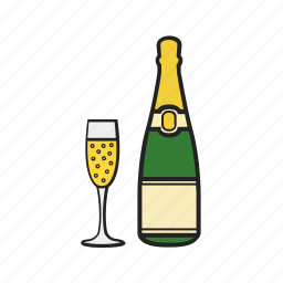 alcohol, bottle, champagne, drink, glass, magnifying icon