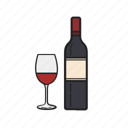alcohol, bottle, drink, glass, magnifying, wine icon