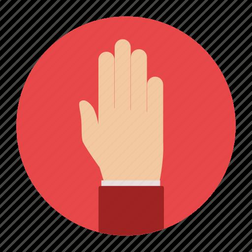 alert, gesture, hand, stop icon