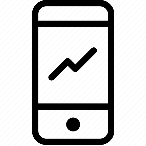 analytics, mobile data, pattern, phone, trend icon