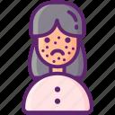 allergy, rash, skin, woman icon