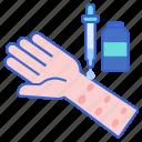 allergy, sick, skin, test icon