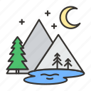 landscape, mountain, mountains, nature, river, travel, tree icon