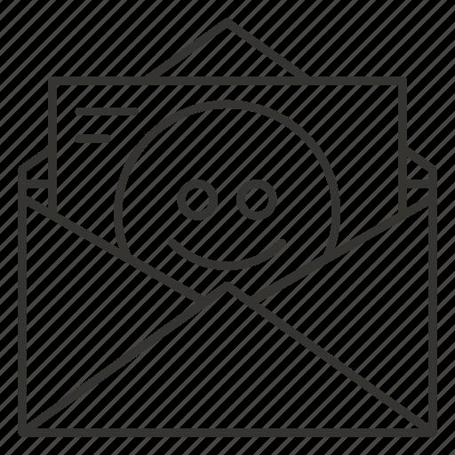 envelope, letter, mail, post, postcard, smile icon
