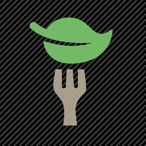 food category, fork, green food, leaf, vegan, vegetarian, vegetarian meal icon