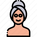 bath, face, face mask, facial, mask, towel icon