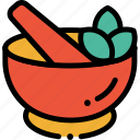 ayurveda, herb, medicine, mortar, pestle icon