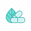 alternative, health care, leaf, line, medicine, pill, thin icon