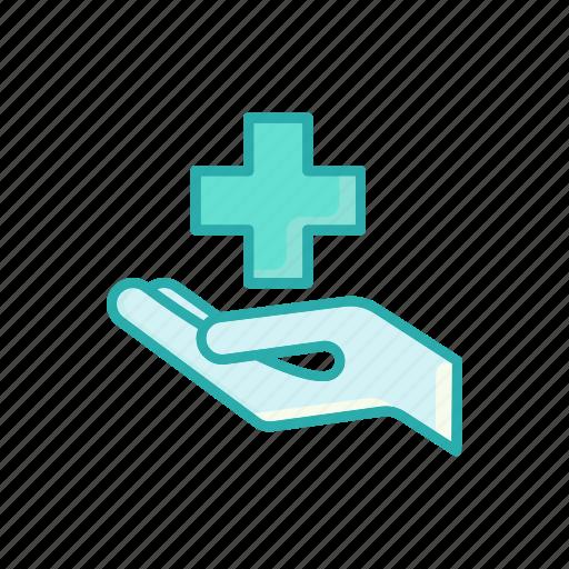 alternative, care, hand, heath, line, medicine, thin icon