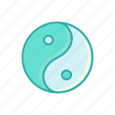 line, thin, yin yang icon