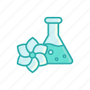bottle, flower, line, liquid, spa, thin, vial icon