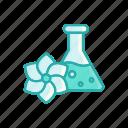 bottle, flower, line, liquid, spa, thin, vial icon