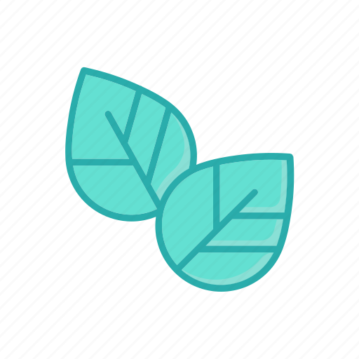 herb, leaves, line, natural, thin, two icon